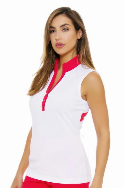 EP Pro NY Women's Poppy Fields Contrast Blocking Golf Sleeveless Shirt EPNY-5127NAB Image 4