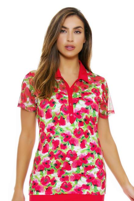 EP Pro NY Women's Poppy Fields Floral Golf Short Sleeve Polo EPNY-5124NAB Image 4