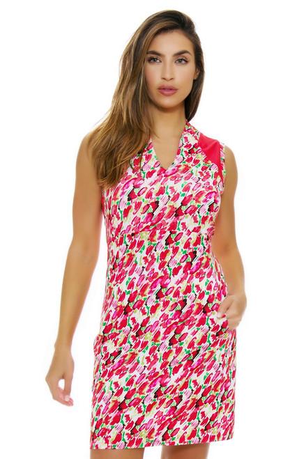EP Pro NY Women's Poppy Fields Blur Floral Print Golf Dress EPNY-0120NAB Image 4