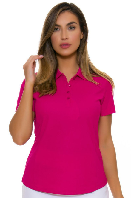 Greg Norman Women's Essentials Ruby Protek Micro Pique Golf Short Sleeve Shirt GN-G2S5K447-Ruby Image 4
