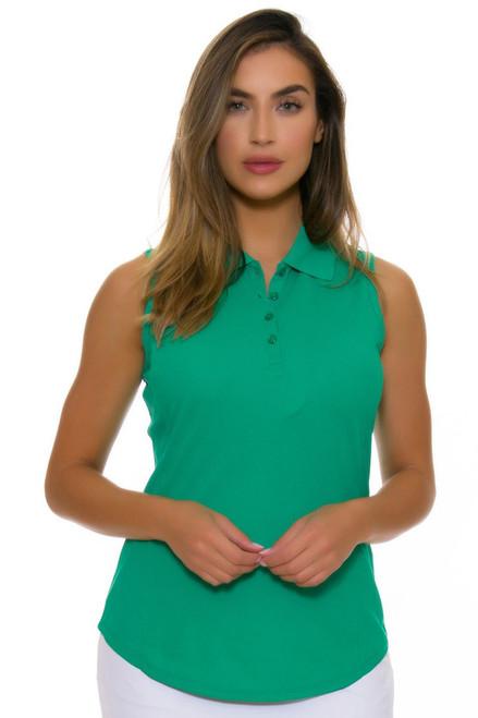 Greg Norman Women's Essentials Emerald Protek Micro Pique Golf Sleeveless Shirt GN-G2S5K448-Emerald Image 4