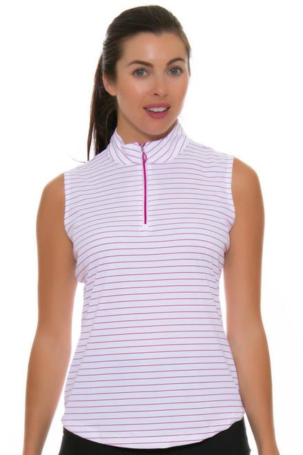 Greg Norman Women's Essential Zip Stripe Ruby Golf Sleeveless Shirt GN-G2S7K450-Ruby Image 4