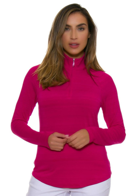 Greg Norman Women's Essentials Ruby 1/4-Zip Mock Golf Long Sleeve GN-G2S7K478-Ruby Image 4