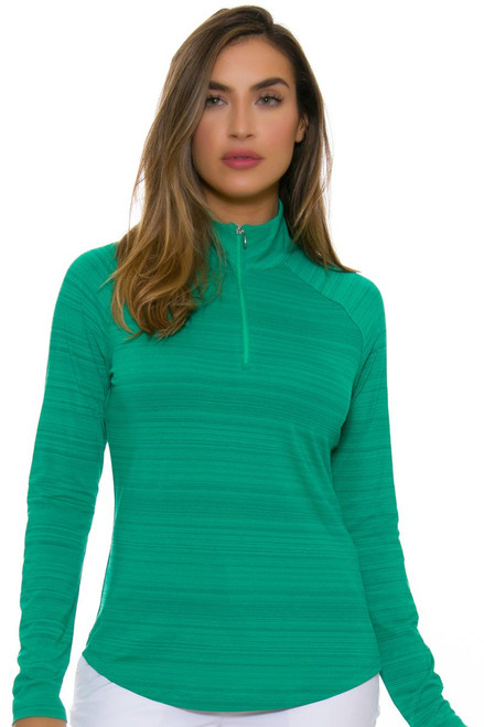 Greg Norman Women's Essentials Emerald 1/4-Zip Mock Golf Long Sleeve Top GN-G2S7K478-Emerald Image 4