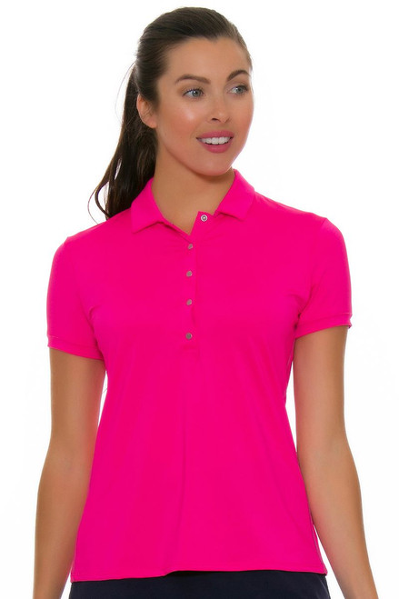 Lucky In Love Women's Divine Le Snap Shocking Pink Golf Polo LIL-GT02-645 Image 4