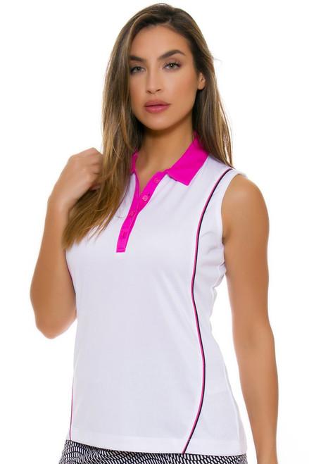 EP Pro NY Women's Marbella Contrast Piped Golf Sleeveless Polo EPNY-5149NAD Image 4