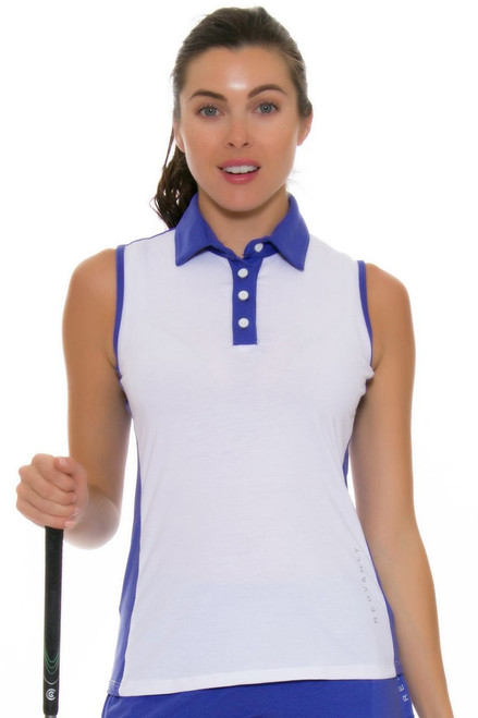 Redvanly Women's Gratten Periwinkle Sleeveless Polo RV-4254 Image 4