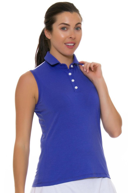 Redvanly Women's Linden Periwinkle Sleeveless Polo RV-5146 Image 4