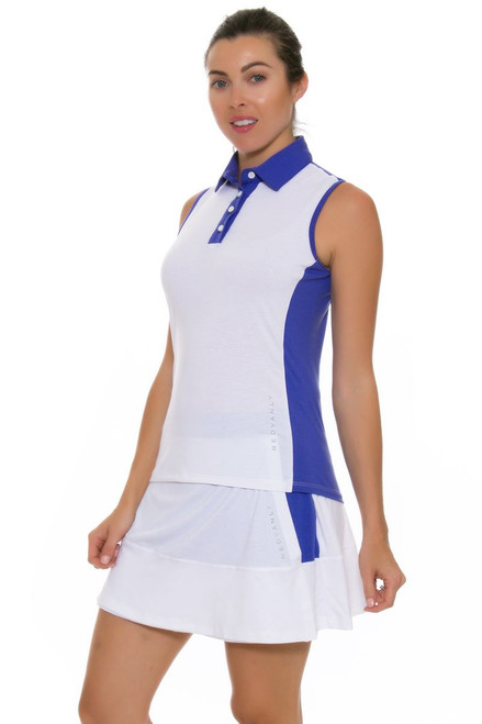 Redvanly Women's Decatur White and Periwinkle Tennis Skirt RV-4992 Image 1