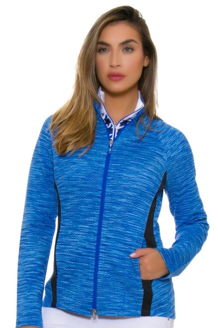 Greg Norman Women's Essentials Diamond Melange Blocked Sapphire Jacket GN-G2F7J560-Sapphire Image 1