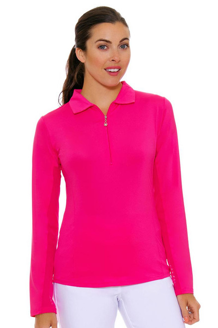 SanSoleil Women's UPF SunGlow Hot Pink Long Sleeve Zip Polo SANS-900433-HTPIN Image 4