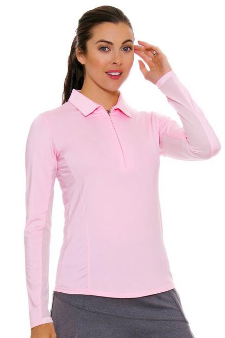 SanSoleil Women's UPF SunGlow Blush Long Sleeve Zip Polo SANS-900433-BLUS Image 4