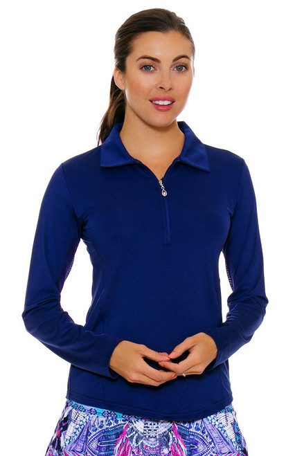 SanSoleil Women's UPF SunGlow Navy Long Sleeve Zip Polo SANS-900433-NAV Tennis Image 1