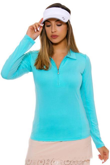 SanSoleil Women's UPF SolTek Zip Aqua Sun Shirt SANS-900403-AQUA Image 4