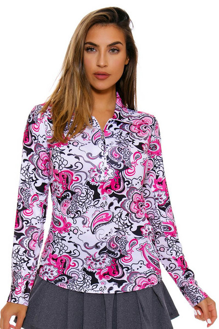 SanSoleil Women's UPF SolCool Zip Paisley Pink Sun Shirt SANS-900462-PBPGR Image 1