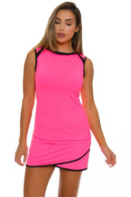 "Sofibella Women's Dark Night Scallop Front 15"" Pink Tennis Skirt SFB-1649 Image 4"