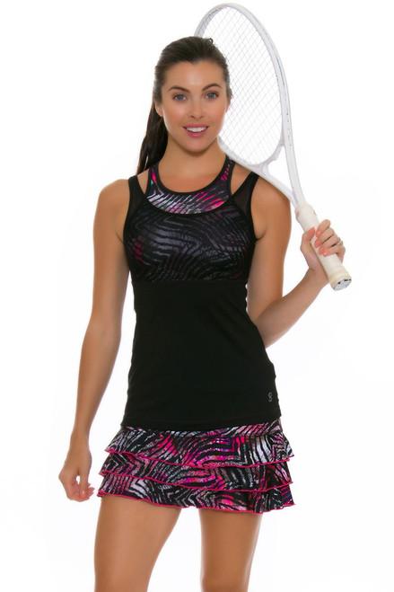 "Sofibella Women's Dark Night Ruffled Hem 13"" Print Tennis Skirt SFB-1686-Magic Print Image 4"