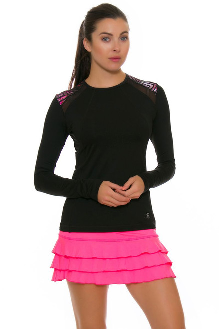 "Sofibella Women's Dark Night Ruffled Hem 13"" Pink Tennis Skirt SFB-1686 Image 4"