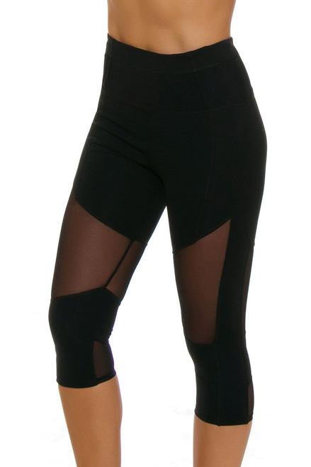 Electric Yoga Women's Blocked Mesh Workout Capri EY-302521-Black Image 4