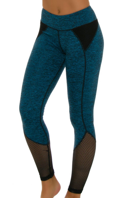 ChiChi Active Women's Demi Mesh Turquoise Workout Leggings CA-HW4-50202 Image 1
