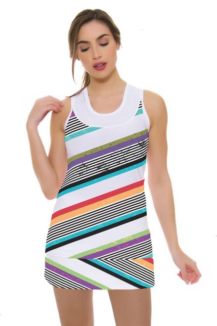 Allie Burke Women's Cross Stripe Print Tennis Skirt AB-BSKT01-027 Image 1