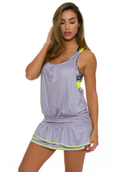 Lucky In Love Women's Love Not War Long Soft Metal Pleat Tier Tennis Skirt LIL-CB200-212049 Image 1