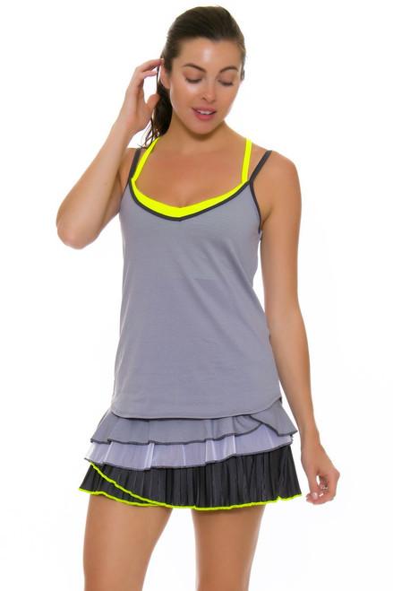 Lucky In Love Women's Love Not War Rally Pleat Tier Charcoal Tennis Skirt LIL-CB213-040 Image 2