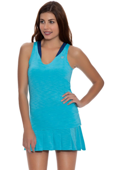 Solid Flutter Pleated Tennis Skirt E-CA117S-Blue Atoll Image 2