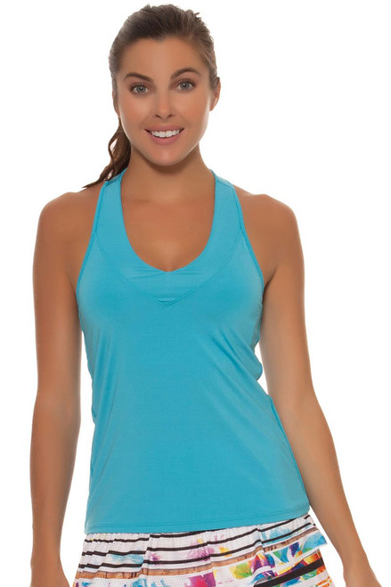 Lucky in Love Ocean V-Neck Tennis Tank With Bra LIL-CT60-Ocean Image 1