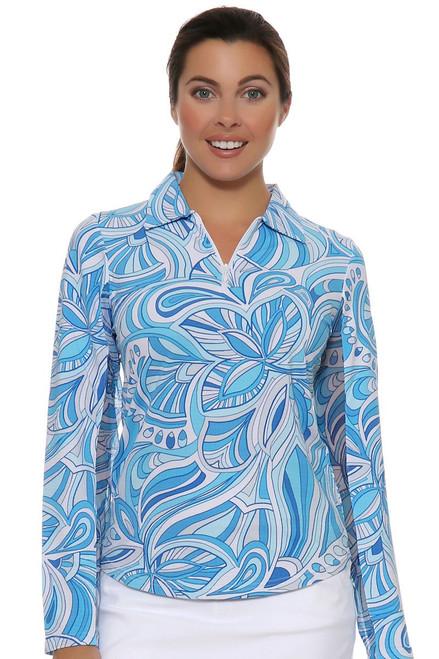 Camilla Blue Print Sun Shirt Polo