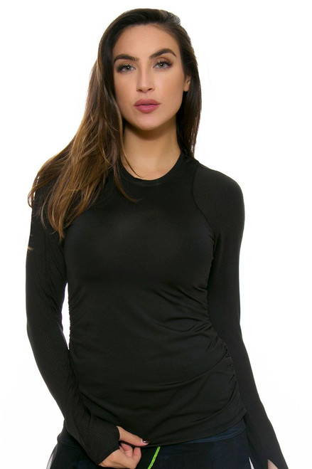 Lucky In Love Women's Core Tops Athletic Crew Black Tennis Long Sleeve LIL-CT155-001 Image 1
