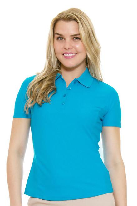 Greg Norman Women's Protek Short Sleeve Golf Polo in Turquoise