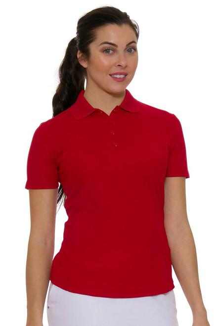 Greg Norman Women's Protek Short Sleeve Golf Polo in red