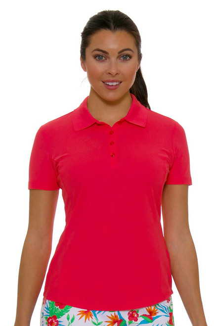 Greg Norman Womens  Protek Micro Pique Polo in Coral Pink