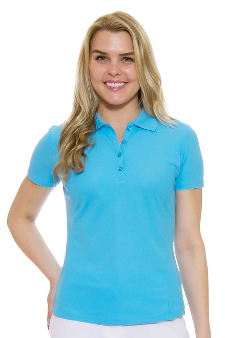 Greg Norman Women's Protek Short Sleeve Golf Polo in Starboard Turquoise
