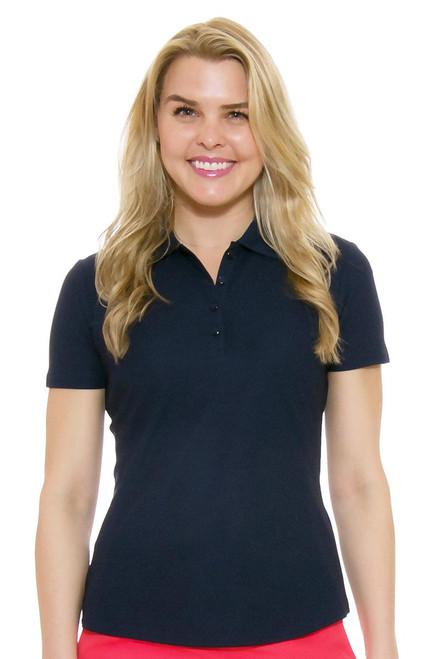 Greg Norman Women's Protek Short Sleeve Golf Polo in Navy Blue