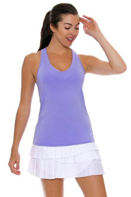 Lucky In Love Women's Core Bottoms Pleat Scallop White Tennis Skirt