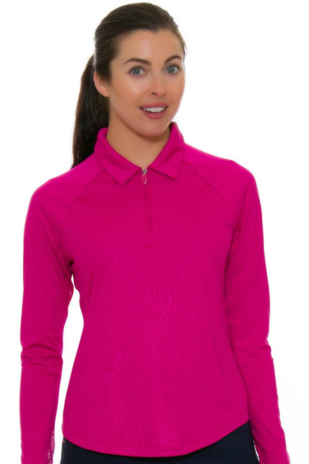 Greg Norman Women's Essentials Solar XP Embossed Zebra Ruby Pullover