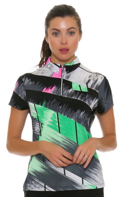 Jamie Sadock Women's Emerald Abstract Print Golf Polo