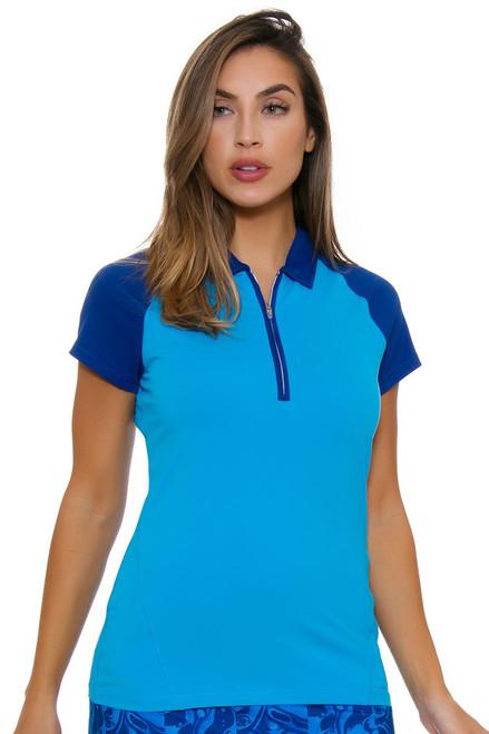 Annika Warrior Blue Short Sleeve golf Top