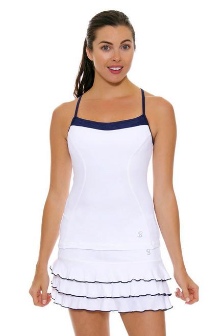"""Sofibella Women's Nautical Navy Ruffled Hem 13"""" Tennis Skirt"""