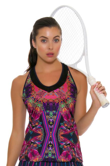 Lucky In Love Women's Athena V-Neck Batik Print Tennis Tank LIL-CT329-223401 Image 1