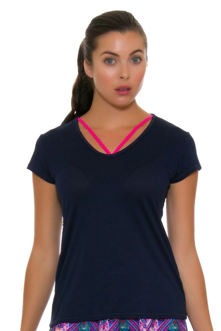 Lucky In Love Women's Athena Lacey V-Neck Tennis Short Sleeve LIL-CT369-401 Image 1