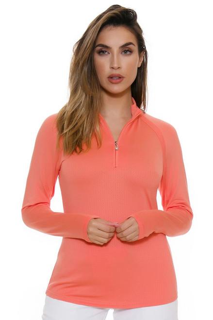 Sansoleil Women's SolTek Grapefruit Zip Mock Sun Shirt