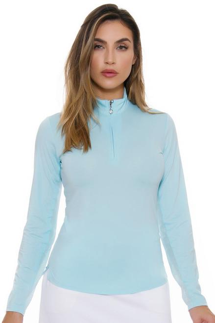SanSoleil Women's SunGlow Cool Blue Mock Long Sleeve