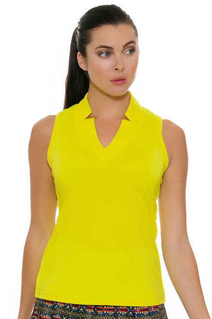 Lucky In Love Women's Foxy Chi Chi Yellow Golf Sleeveless Shirt