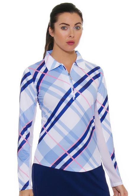 SanSoleil Women's UPF SolCool Zip Highlands Blue Sun Shirt