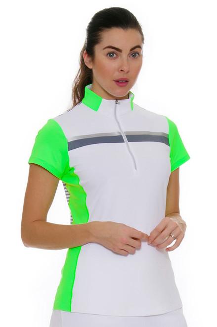 Annika Women's Eclipse Stripe Mix-Up Golf Cap Sleeve Shirt AK-LAK00016 Image 1