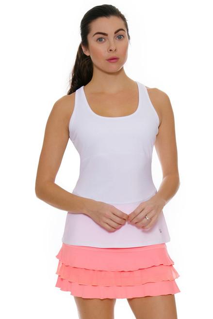"Sofibella Women's Neon Coral Ruffled Hem 13"" Tennis Skirt"