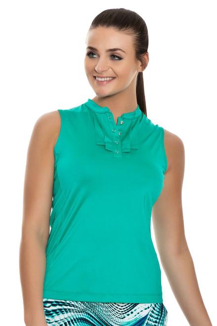 Tail Women's Green Skylar Pleated Golf Sleeveless Shirt